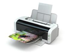 color printer prints photo on white isolated background. - stock illustration