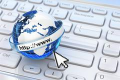 browser. internet concept.. earth on laptop keyboard. - stock illustration