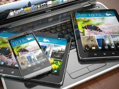 mobile devices. laptop, smartphone and tablet pc. - stock illustration