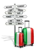 travel concept. suitcases and signpost what to visit in italy. - stock illustration