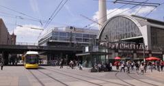 UHD 4K Berlin Busy Street Central City Alexanderplatz Railway Station Commuters Stock Footage