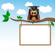 owl sitting on three with whiteboard - stock illustration