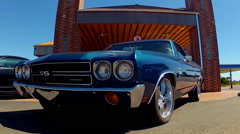 Classic El Camino Super Sport At Route 66 Filling Station Stock Footage