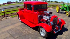 Classic Hot Rod Pickup Truck At Route 66 Store- Valle Arizona Stock Footage