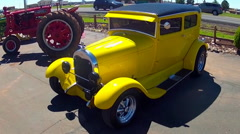 Classic Hot Rod Sedan At Route 66 Gas Station- Valle Arizona Stock Footage