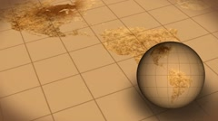 Vintage Rotating Globe And Map Of The World Background Animation - stock footage