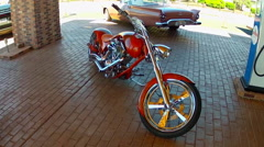 Custom Motorcycle At Route 66 Store- Valle Arizona- High Angle Stock Footage