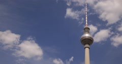Ultra HD 4K UHD Travel Attraction German Landmark Berlin Radio TV Tower Skyline Stock Footage