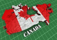 Map of canada with flag colors Stock Illustration