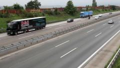 Traffic and road users at German highway A3 Stock Footage