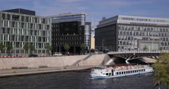 Ultra HD 4K Car Traffic Berlin Spree River Tour Boat Passing TV Tower Landmark Stock Footage