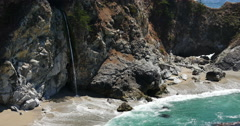 4K Big Sur McWay Falls 02 McWay Cove Flowers Pacific Coast California Stock Footage