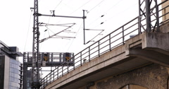 UHD 4K Berlin ICE Intercity Express DB Train Passing Above Street Structure Stock Footage