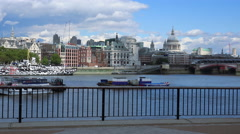 The southbank at River Thames view to St. Pauls Cathedral - stock footage