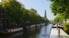 Cleaning dek of houseboat - stock footage