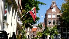 Flag of Amsterdam in de Jordaan - stock footage