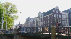 Tram passing by in Amsterdam Stock Footage