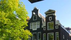Close-up old historic houses Amsterdam - stock footage