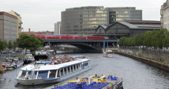 UHD 4K Travelers Berlin River Ship Passing Train Departure Rush Hour Commuters Stock Footage