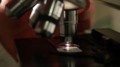 Laboratory researcher working with microscope 4 - stock footage