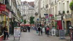 Pedestrian Shopping Street - Nantes France Stock Footage