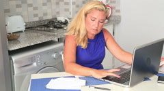 Woman having financial troubles Stock Footage