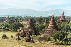 travel landscapes and destinations. amazing architecture of old buddhist temp - stock photo