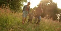 family exploring park - stock footage