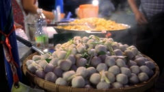 Tapioca balls with pork filling, thai traditional dessert. Koh Samui Stock Footage