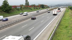 Traffic and road users on German highway A3 Stock Footage