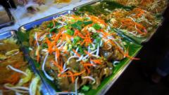 Thai food different Padthai hot with noodle in night street market Koh Samui Stock Footage