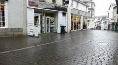 Finkle Street Kendal on rainy day Stock Footage