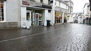 Stock Video Footage of Finkle Street Kendal on rainy day