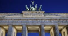 Ultra HD 4K Front Facade Berlin Germany Branderburg Gate Famous German Nighttime Stock Footage