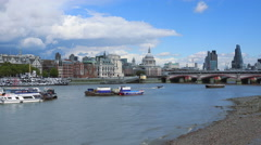 City of London skyline with Blackfriars Bridge - stock footage