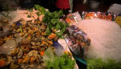 Ingredients for traditional thai cuisine and fresh seafood on fish market in Koh Stock Footage