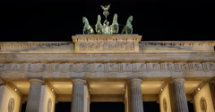 Ultra HD 4K Quadriga Sculpture Famous Place Brandenburg Gate Berlin Late Night Stock Footage