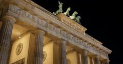 UHD 4K Chariot Quadriga Brandenburg Gate Columns Golden Light Late Night Berlin Stock Footage