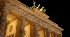 UHD 4K Establishing Shot Historic Berlin Iconic Brandenburg Gate Evening Night Stock Footage