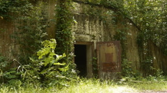 World War II abandoned jungle bunker arsenal 14 Stock Footage