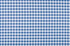Blue and white checkered tablecloth Stock Photos