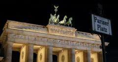 UltraHD 4K Pariser Platz Symbol Night Brandenburg Gate Berlin Establishing Shot Stock Footage