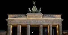 UHD 4K Berlin Establishing Shot Illuminated Night Brandenburg Gate City Berlin Stock Footage