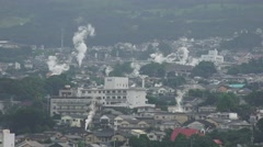 Steam Rises Over City Of Beppu Japan - Looks Like Smoke And Fire 05 4K Stock Footage