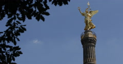 UltraHD 4K German Symbol Victoria Statue Berlin Germany Victory Golden Icon Stock Footage