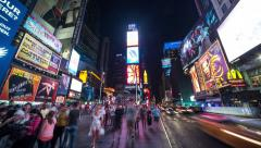 New York City Times Square at night wide angle time-lapse Stock Footage