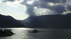 Kotor Montenigro aerialtracking shot of coastal land and town Stock Footage
