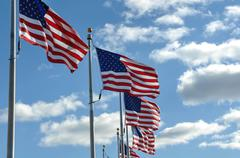 American flags in the wind Stock Photos