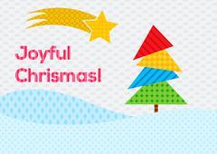 Colorful christmas card with joyful christmas text Stock Illustration