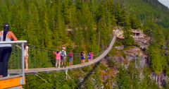 4K Sky Pilot Suspension Bridge and Mount Garabaldi, Sea to Sky Gondola, BC Stock Footage
